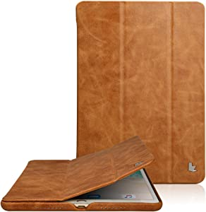 JISONCASE Classic Series Compatible Apple New iPad Pro 10.5 Case Vintage Genuine Leather Smart Cover Magnetic Flip Case with Auto- Wake/Sleep Function, Brown (JS-PRO-20A20)