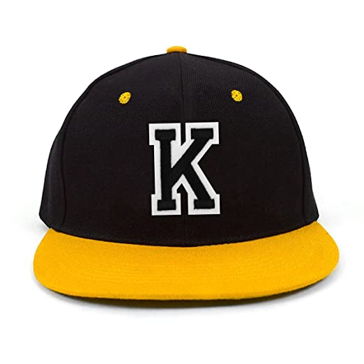 Varsity Letter K Initial Solid Flat Bill Embroidered Snapback Cap at ... 5890c3e4ace