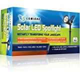 Bright LED Solar Spotlight: True Warm White Color (Not Icy Blue) | Automatic on/off Sensor | Outdoor Landscape Garden Light for Trees, Bushes, Walls, Accents & Flag | Waterproof & Fully Adjustable