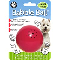 Pet Qwerks Animal Sound Babble Ball Interactive Dog Toys - Flashing Motion Activated Electronic Talking Ball, Treat Toy That Makes Animal Noises - Avoids Boredom & Keeps Dogs Active | for Medium Dogs