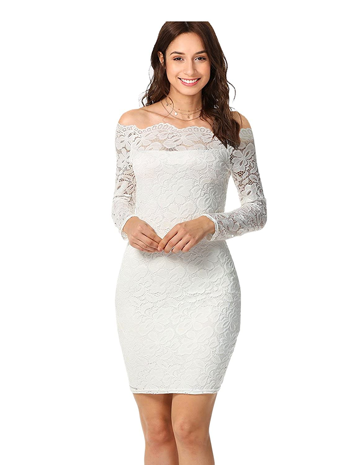 c74151fdf0f imimimomo Women s Vintage Floral Lace Dress Long Sleeve Bodycon Cocktail  Party Wedding Formal Swing Dress