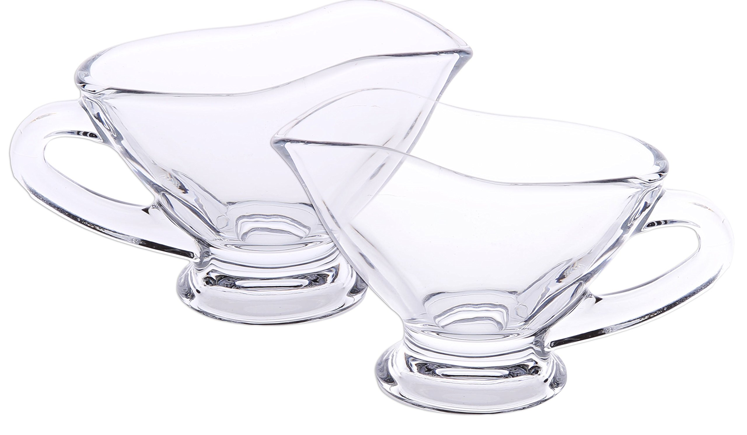 Small 3 oz crystal Coupe Shaped Gravy Sauce Boat Salt and Pepper Chinese Spoon Set of 2