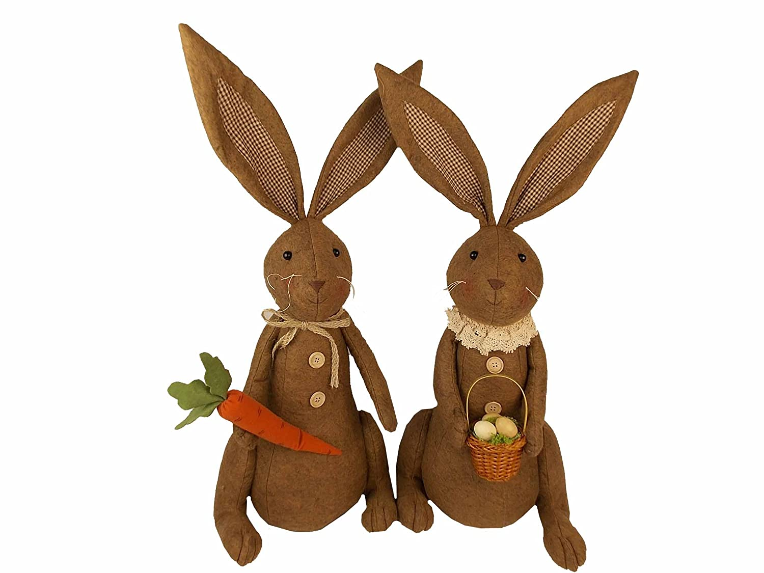 Craft Outlet 2 Piece Fabric Brown Bunny with Carrot /& Egg Basket Set 28