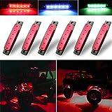 Botepon 6Pcs Led Rock Lights, led fender lights, Wheel Well Lights, Led Underglow Kit for Golf Cart, Jeep Wrangler, RZR…