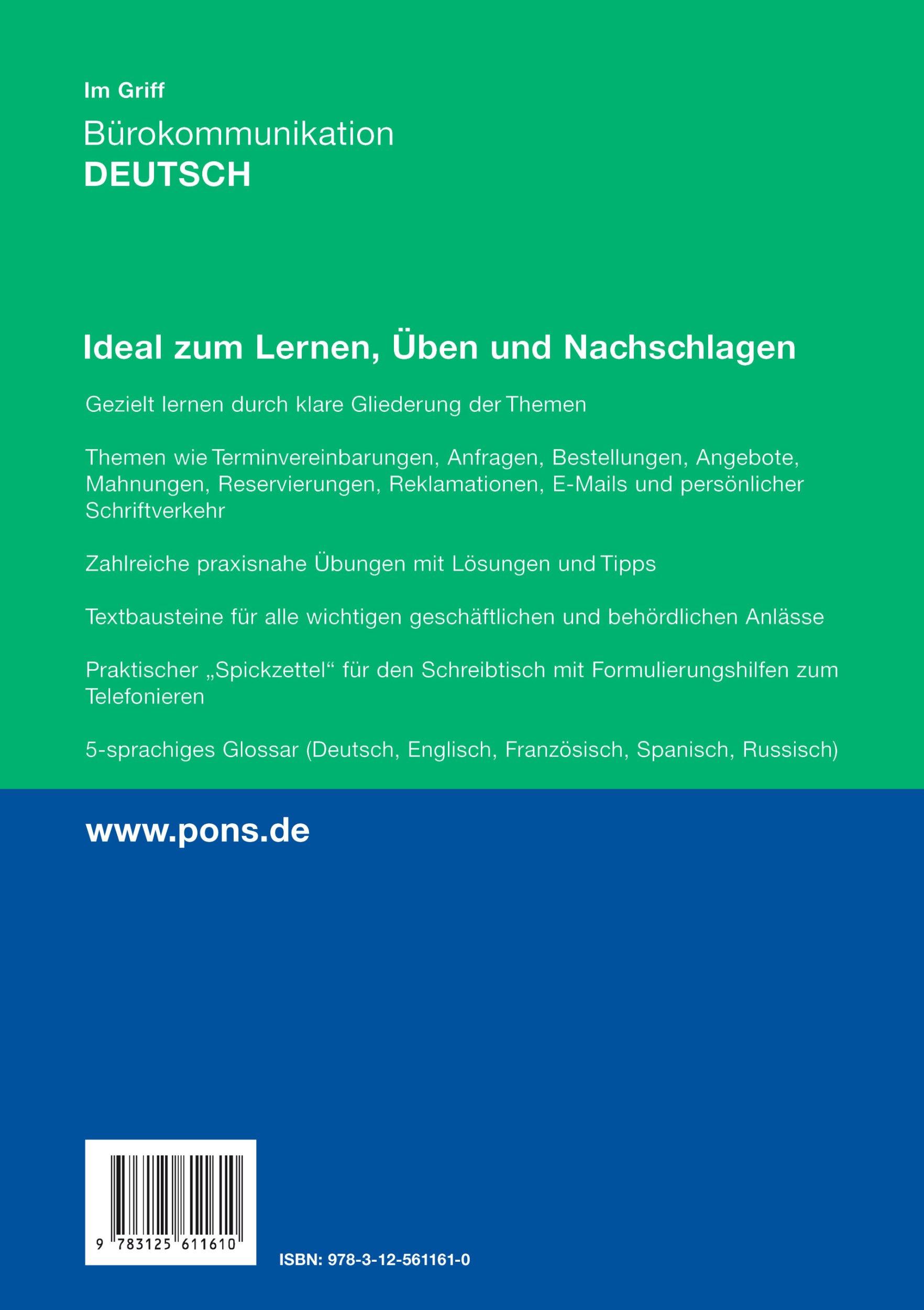 Pons Im Griff Bürokommunikation Deutsch Sicher Formulieren In
