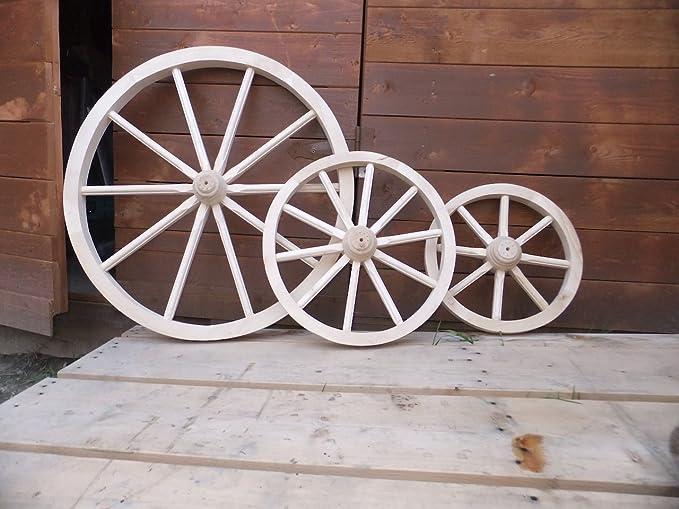 Woodeeworld Carro Rueda pequeña 40 Wagon Madera Maciza de Plain Estilo Vintage jardín decoración para el hogar: Amazon.es: Hogar