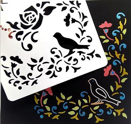 stuffnew 20 piezas cristal grabado diario pintura plantilla stencil ...