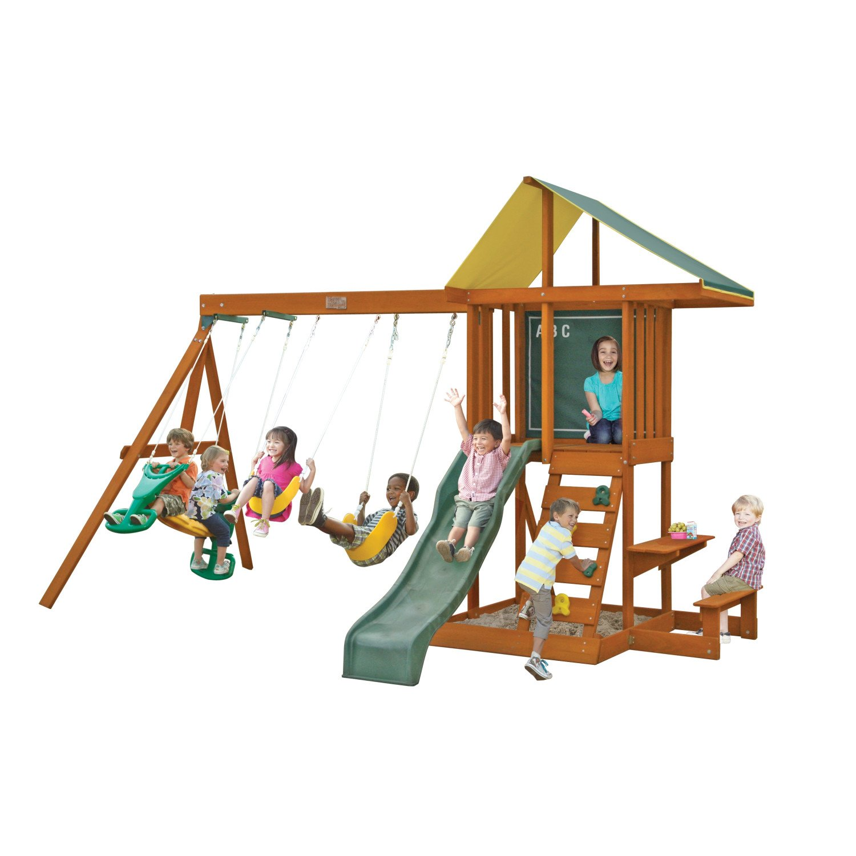 amazon com big backyard springfield ii wooden swing set by