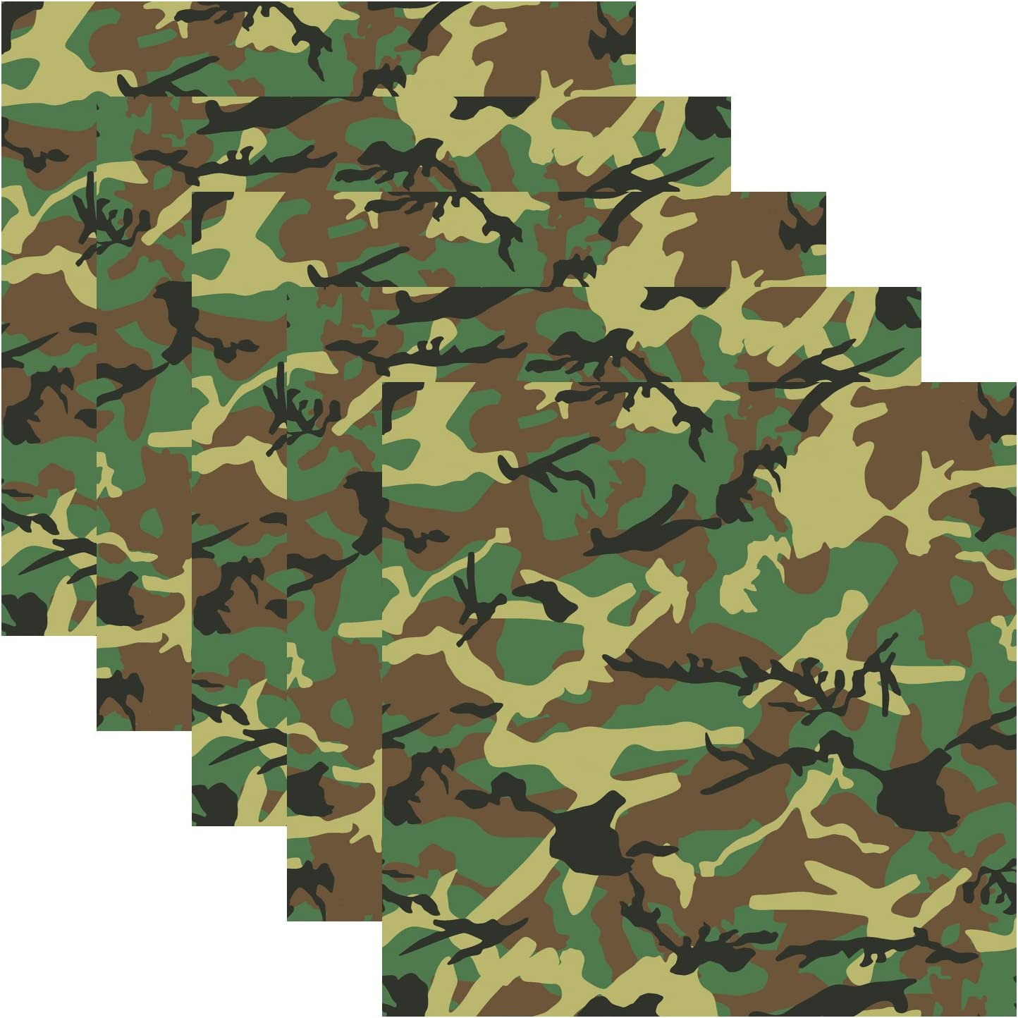 "Army Green Camouflage Self Adhesive Assorted Vinyl Sheets 12"" x 12"" Military Camo Permanent Adhesive Backed Vinyl for Crafting Project Decals and Other Craft Cutters - Pack of 5"