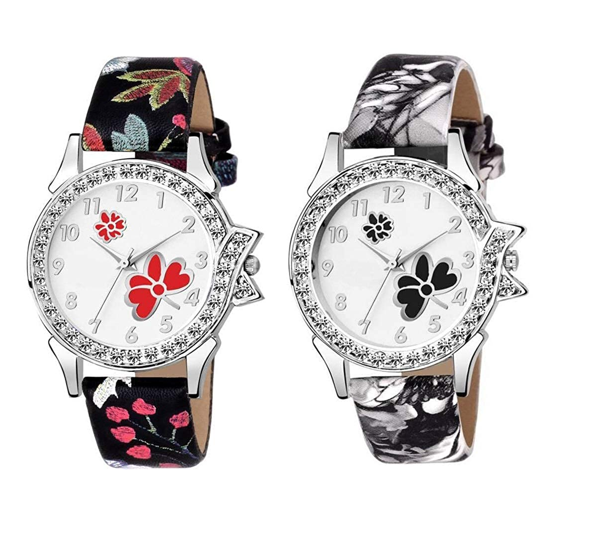 e75693637 Buy SWADESI STUFF Quartz Movement Analogue Multicolour Dial Leather Strap Women's  Watch - Combo of 2 Online at Low Prices in India - Amazon.in