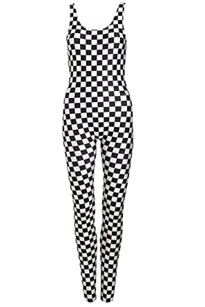 e7f13fb2c6c Image Unavailable. Image not available for. Color  Minga London Checkered Unitard  Jumpsuit Catsuit Top Playsuit ...