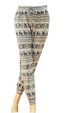 neueste trends Ruf zuerst Einkaufen Damen Stretch Sommerhosen Strandhose Pumphose Pluderhose Freizeithose Boho  Style Stoffhose Hippie Hose Schlupfhose mit breit elastischem Gummizug und  ...
