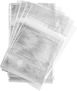 """100 Super Clear 5 1//2/"""" x 8 1//8/"""" Resealable Cellophane Lip and Tape Bags 1.2mil"""