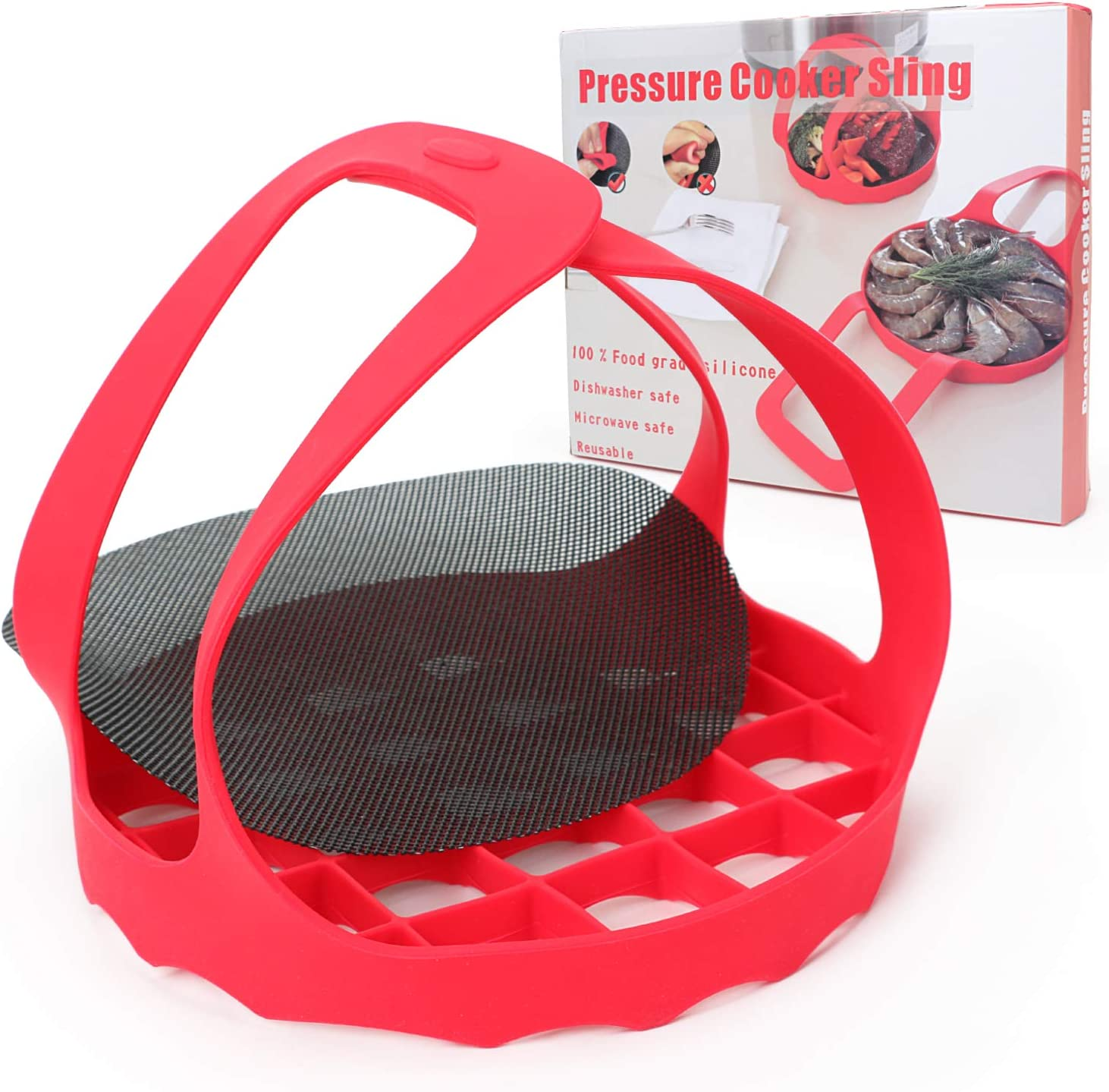 Silicone Trivet Sling Lifter for Pressure Cooker Bakeware, Compatible with 6/8 Qt Instant Pot, Ninja Foodi and Multi-functional Cooker Heat Resistant Egg Steamer Rack with Steam Mat Accessory