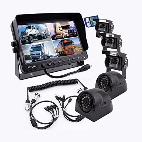 Camnex The 5th Wheel Camera Monitor System Build-in DVR Recorder with Quad Split Screen, 9 inch Monitor 5X Cameras Trailer Tow Quick Connect Disconnect Kit Suitable for Fifth Wheel Trailer Truck