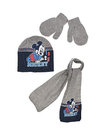 79349eaf6679 Echarpe, bonnet et moufles bébé garçon Mickey Gris et Marine de 9 à 36mois   Amazon.fr  Vêtements et accessoires