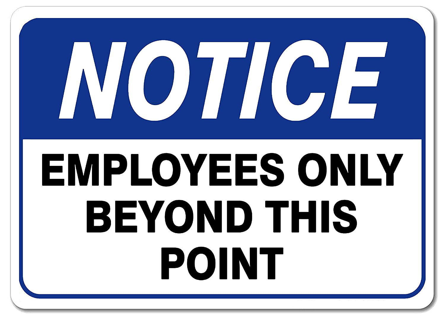 Employees Only Beyond This Point Office Safety Warning Sign Blue Metal Tin Sign Wall Decor 8X12 Inch PXIYOU Notice Employees Only Sign