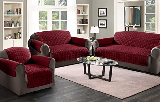 3 Seater Sofa Protector Burgundy / Wine 68 x 70.5 Water ...
