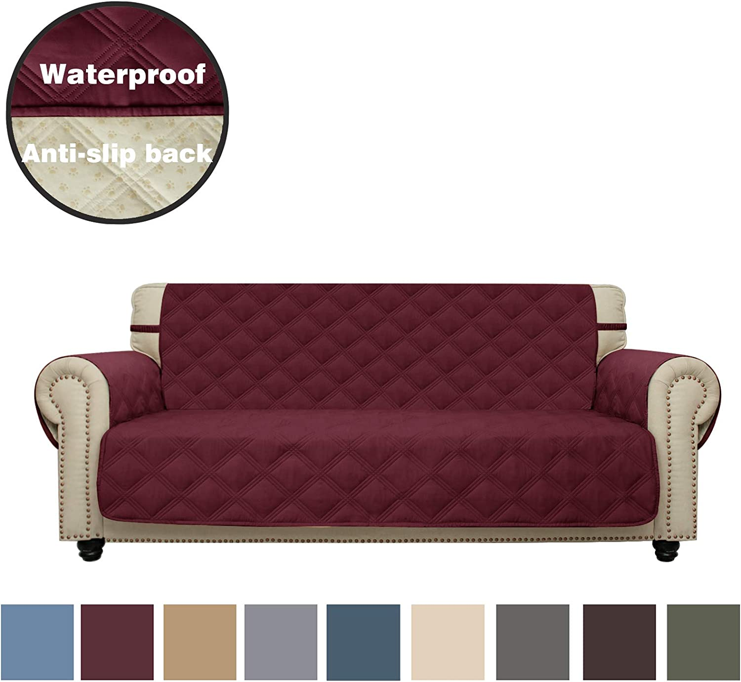 CHHKON Sofa Cover Waterproof with Anti-Skip Dog Paw Print 100% Quilted Furniture Protector Sofa Slipcover for Children, Pets for Leather Couch (Burgundy, Sofa)