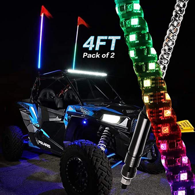 Boat 360 Spiral Dancing//Chasing RGB LED Lighted Antenna Whips with US Flag RF Remote Control for ATV Sand Buggy Dune Quad AXECO 3ft LED Whip Lights Offroad Trucks UTV SXS 4X4