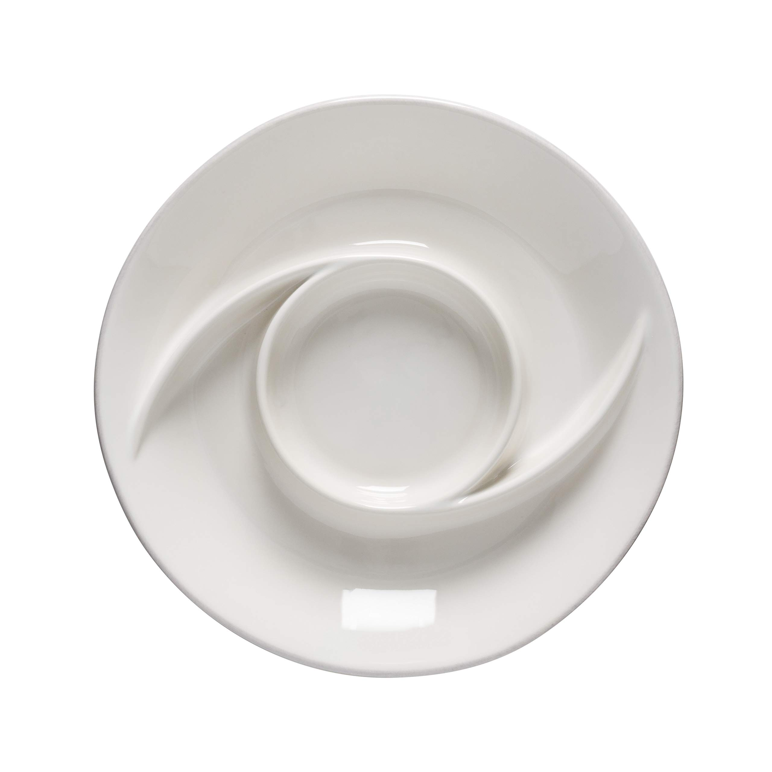 Casafina Cook & Host Collection Stoneware Ceramic Chip & Dip Serving Dish 12.75'' (White)