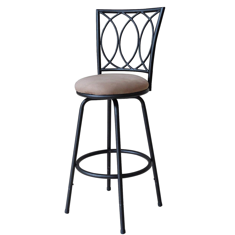 Roundhill Furniture Redico Adjustable Metal Barstool, Powder Coated Black Renewed