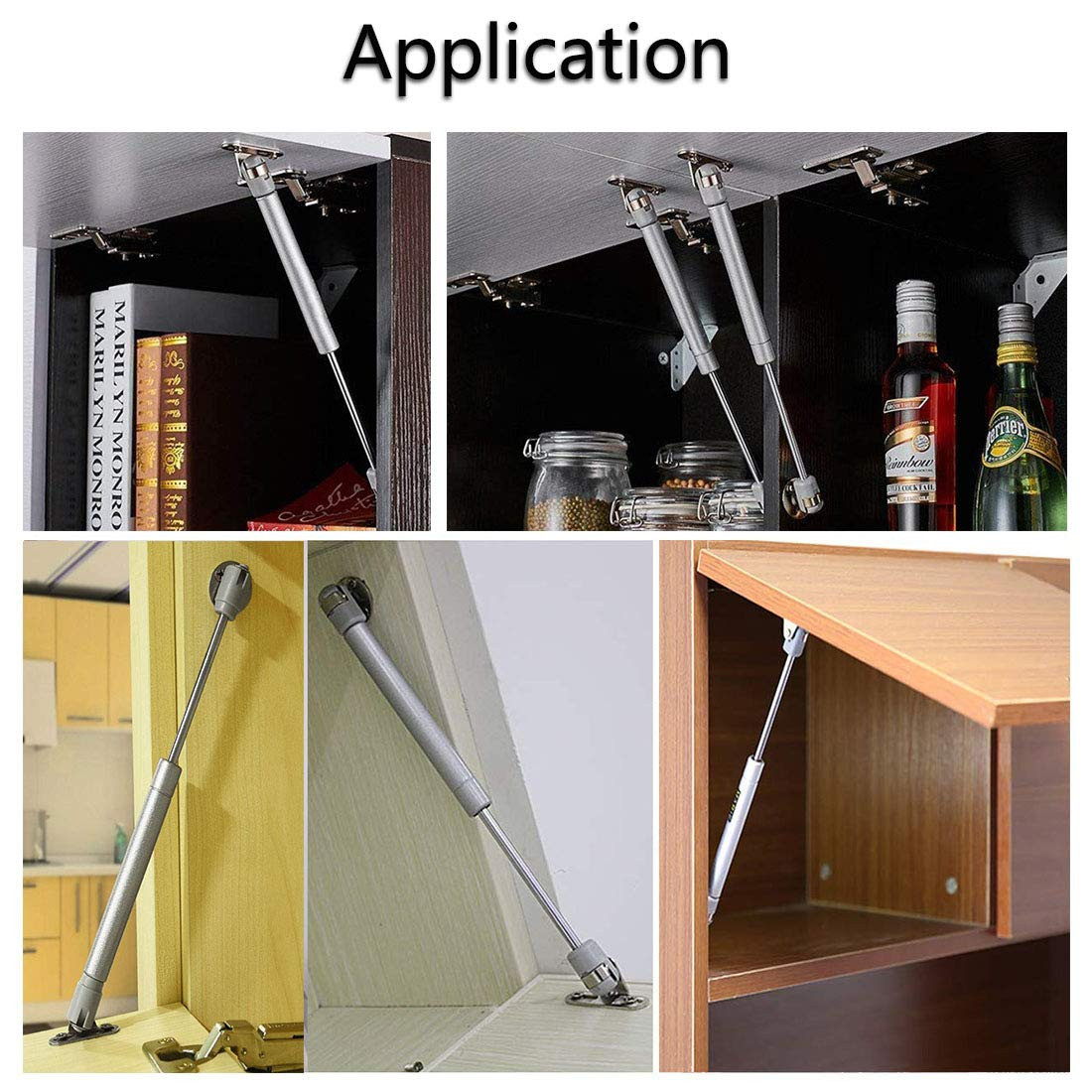 Gas Lift Strut Pack of 4 Jestool Kitchen Cupboard Wardrobe Cabinet Door Pneumatic Support Gas Spring Strut Damper Hinge with 100N for Flap Fittings Soft Closing Stay