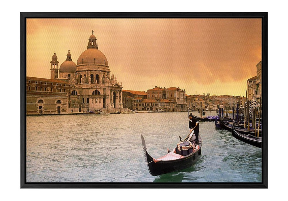 Sunset Over Grand Canal Venice Italy Black Wooden Frame Art Print Canvas Poster, Home Wall Decor(12x16x1.4 inch)