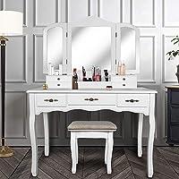 YOUKE Schminktisch Kosmetiktisch Frisierkommode 3 Spiegel 7 Schubladen & Hocker | Schminkspiegel,Stylingstation (Weiß)