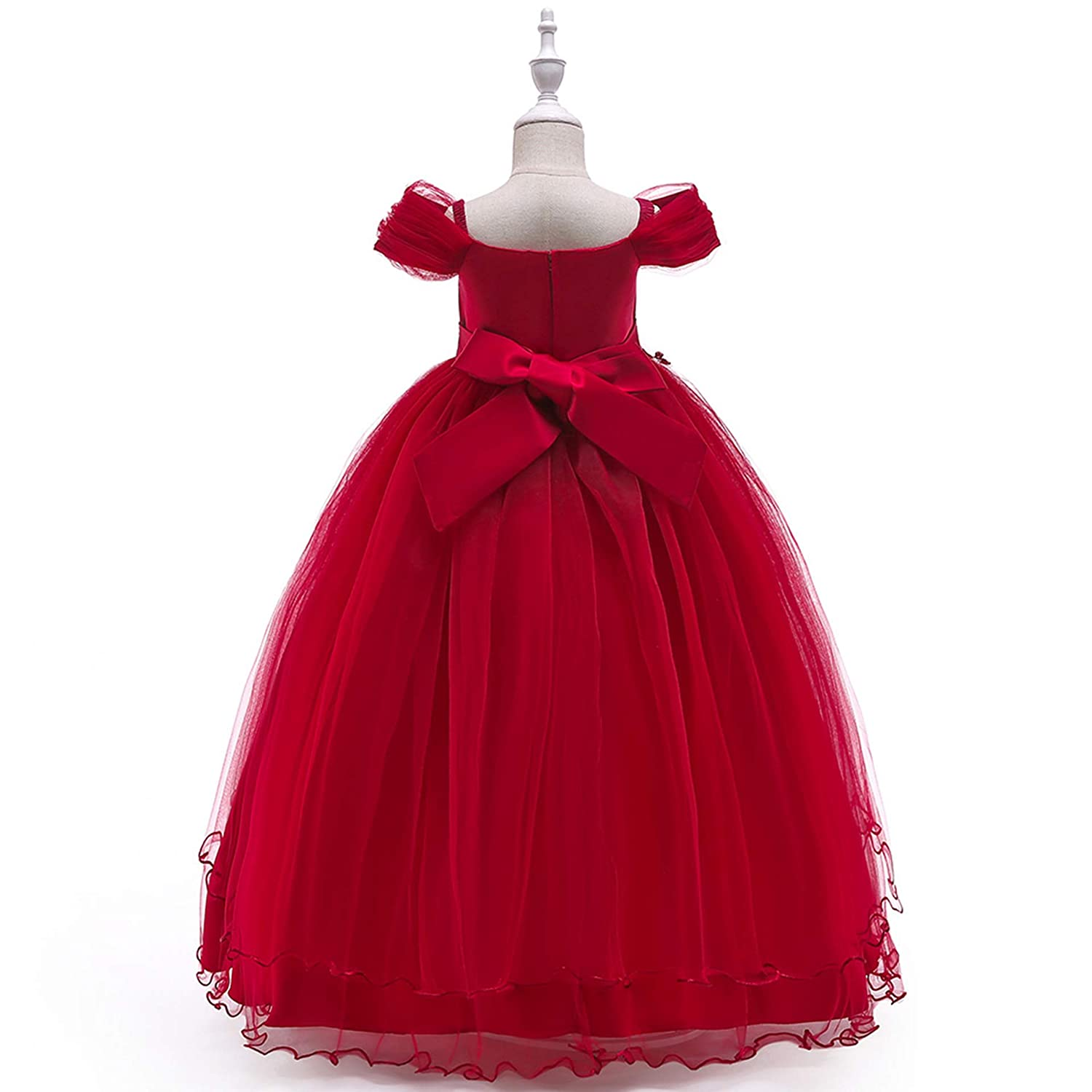 b3e5895c175 Amazon.com: NOMSOCR Kids Lace Costume Long Dress Girl Prom Ball Gown  Christmas Party Princess Dresses (3-4 Years, Red): Garden & Outdoor