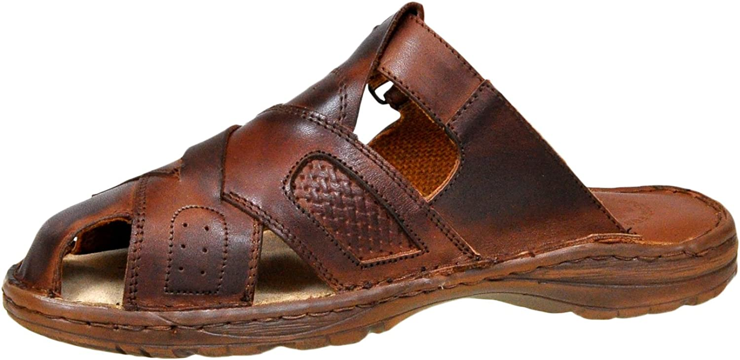 Brown, Lukpol Mens Leather Sandals M868