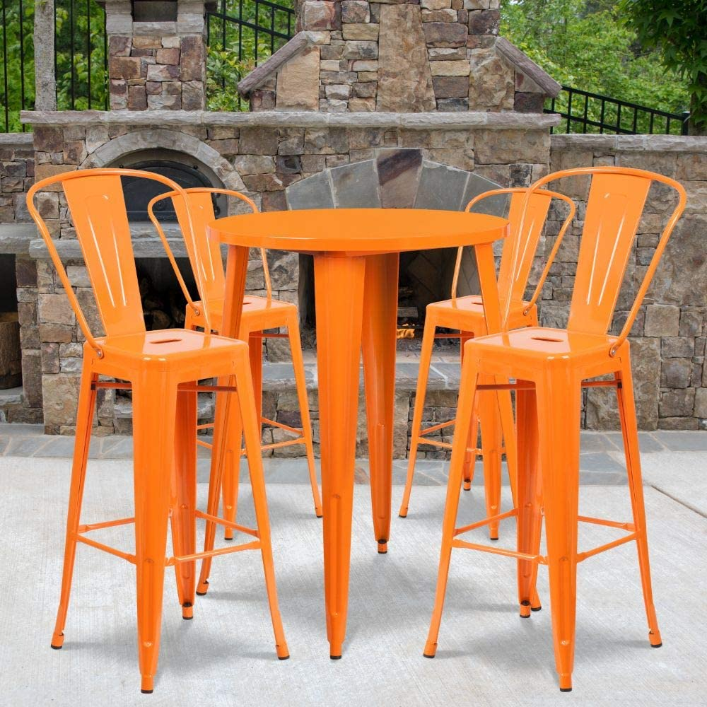 """Flash Furniture Commercial Grade 30"""" Round Orange Metal Indoor-Outdoor Bar Table Set with 4 Cafe Stools"""