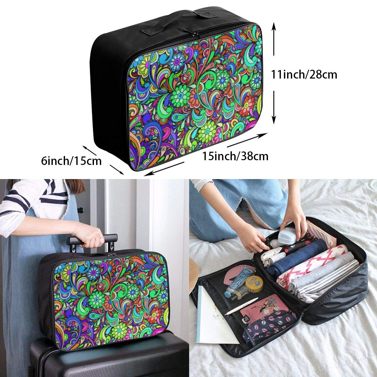 Psychedelic Blossoms Travel Carry Luggage Duffle Tote Bag
