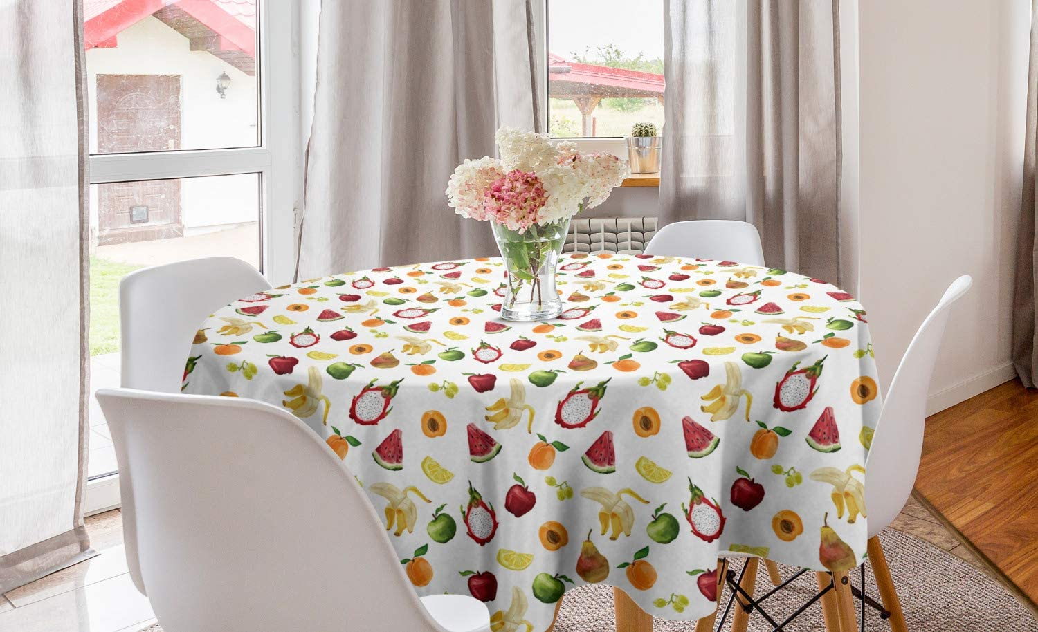 Lunarable Watercolor Round Tablecloth, Abstract Fruit Paintbrush Style Watermelon Apple Banana Theme, Circle Table Cloth Cover for Dining Room Kitchen Decoration, 60