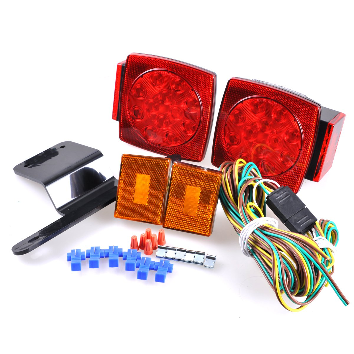 Autoec Led Trailer Light Kit 12v Utility Tail Stop Turn Wiring Diagram On Applications Small Boat Or Trailers Signal Running Lights Universal Mount Combination For Truck Rv Automotive