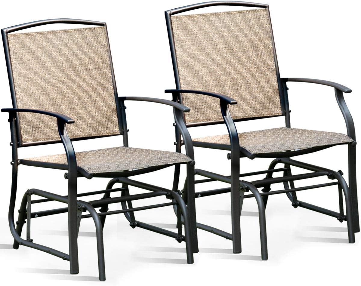 Giantex Swing Glider Chair Outdoor Furniture W Study Metal Frame, Single Glider Patio Chair for Garden, Porch, Backyard, Poolside, Lawn Rocking Chair 2