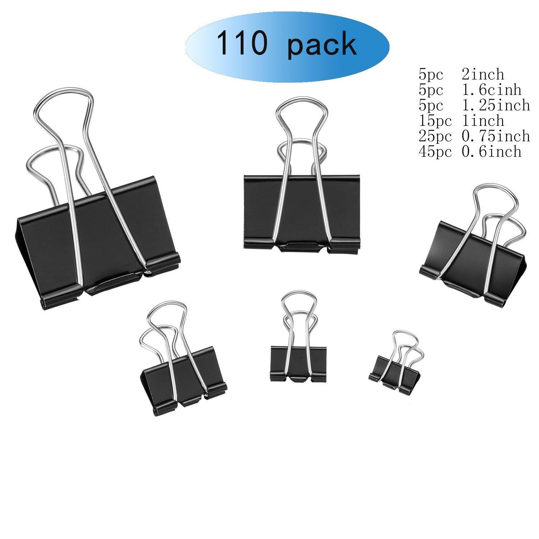 Tissir Black Binder Clips, Folder Clip, 110pc Paper Clip - Multi-Purpose Clip for Office/Home