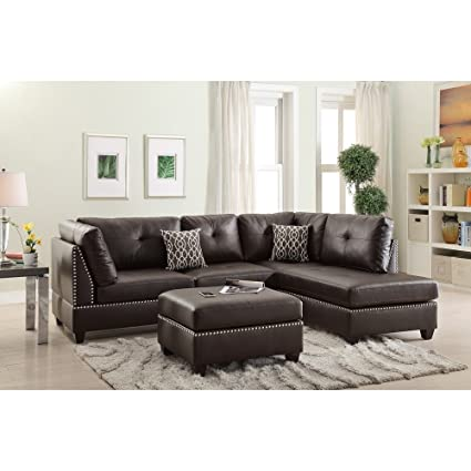 Amazoncom Benzara Bm168760 Plushed Bonded Leather Sectional Sofa