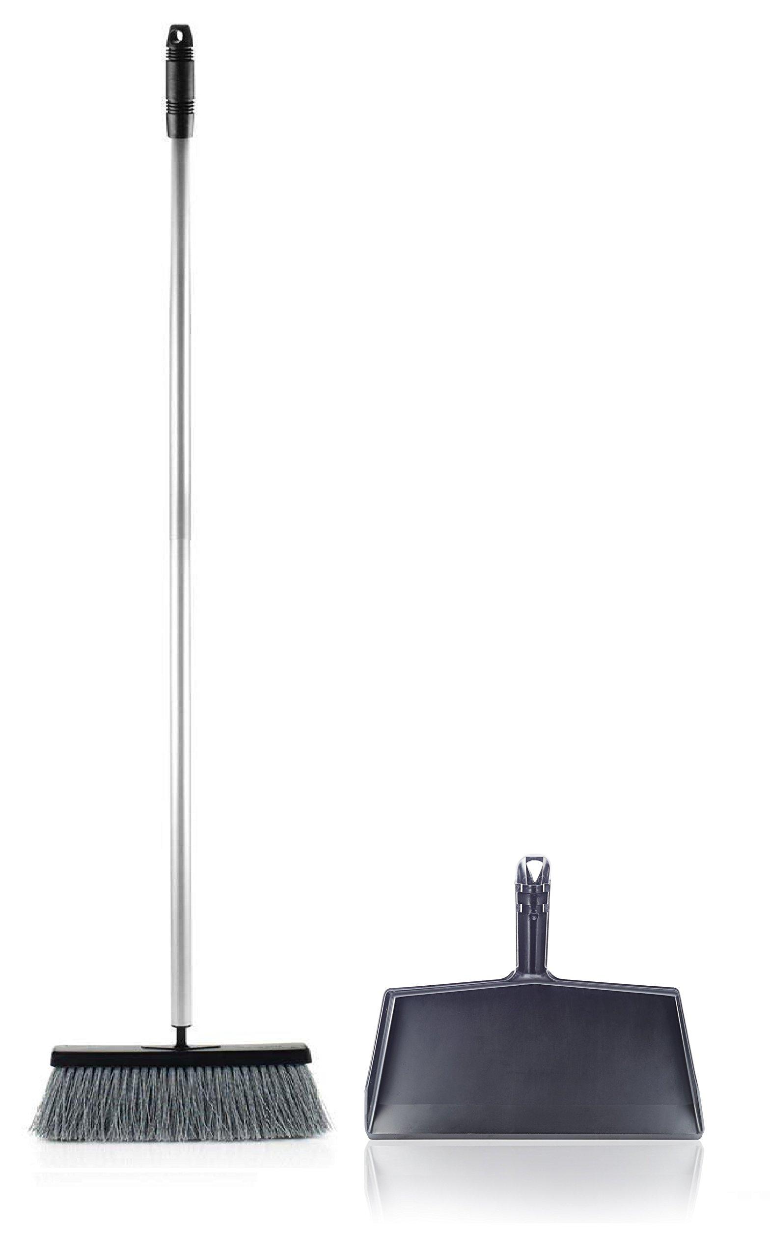 Fuller Brush Deep Reach Black Slender Complete Broom Clip On Dustpan by Fuller Brush