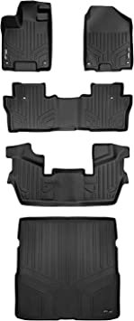 SMARTLINER Floor Mats 3 Rows and Cargo Liner Behind 3rd Row Set Black for 2016-2018 Honda Pilot No Elite Models