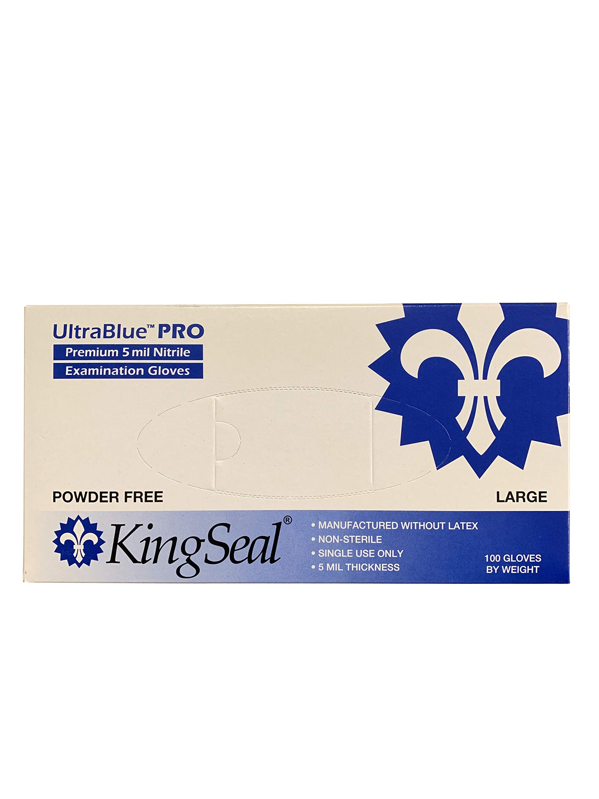 KingSeal UltraBlue PRO Indigo Blue Nitrile Medical Grade Exam Gloves, Latex Free, 5 mil, Textured, Size Large - 4 boxes of 100 gloves (400pcs total) by KingSeal
