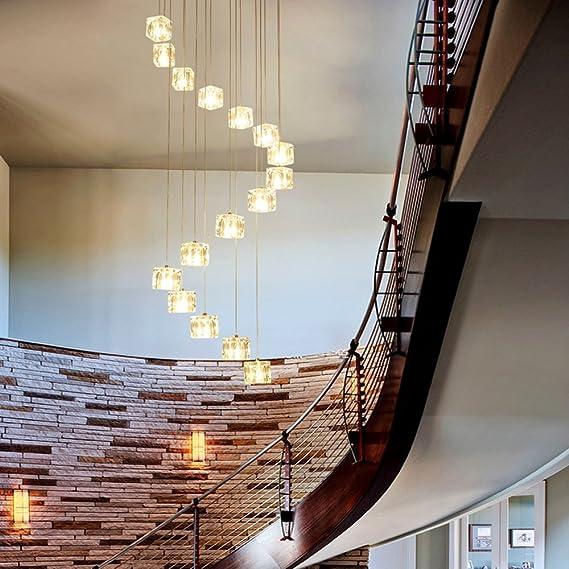 Escalera larga 16 unids arañas de luces de vidrio multi luces moderna restaurante arte personalidad creativa sala de estar escaleras de caracol de cristal de la cortina de sombra, 50 * 200