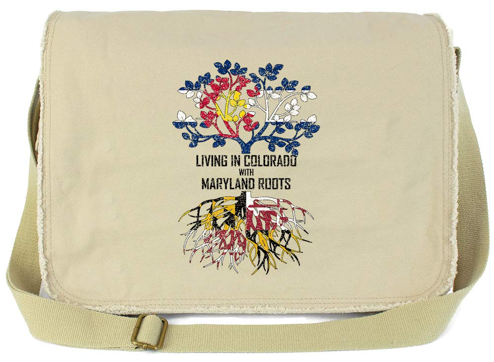 Tenacitee Living In Colorado with Maryland Roots Grey Brushed Canvas Messenger Bag