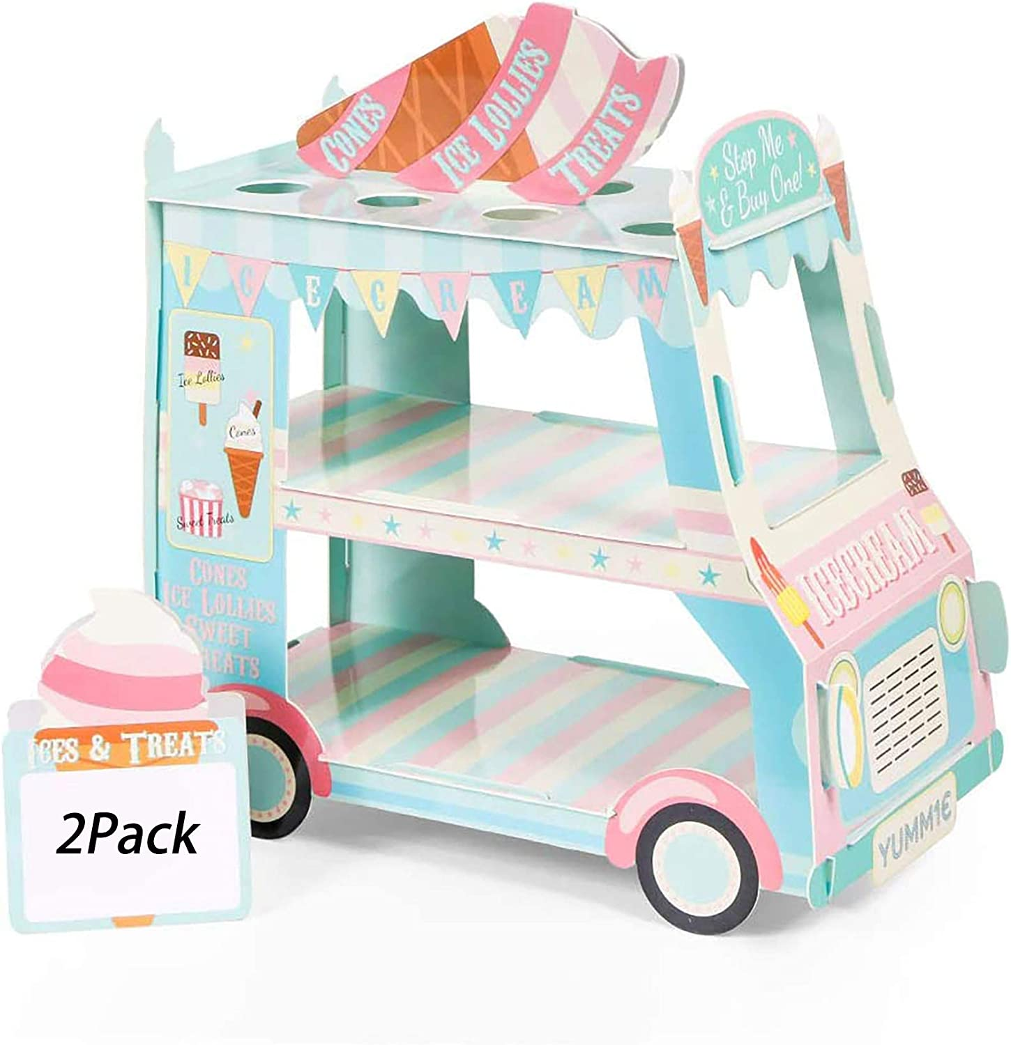 3 Tier Van Cake Stand, Ice Cream Van Stand, Bus Cupcake Stands, Ice Cream Decorations for Kids Birthday Party, Baby Showers, Easter (2Packs)