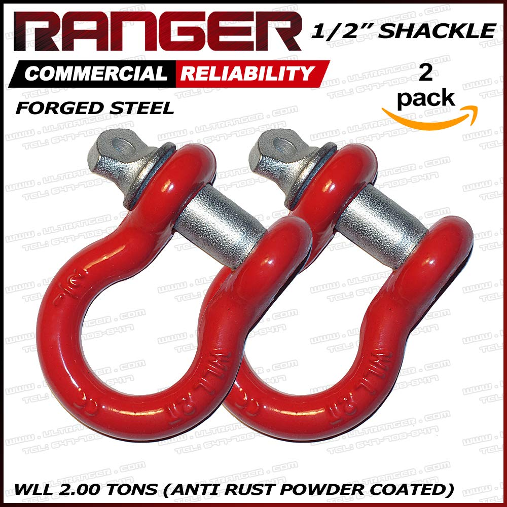 Ranger 1/2' Trade, 2 Ton Working Load Limit Screw Pin Anchor Shackle, Forged Steel, Galvanized, Powder Coat by Ultranger SC200