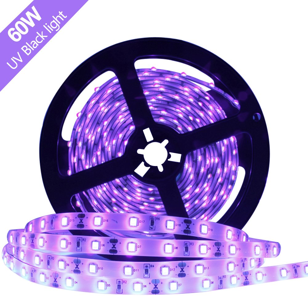 Super Bright 60 Watts UV Black Light LED Strip, 16.4FT/5M 3528 300LEDs 395nm-405nm Waterproof IP65 BlackLight Night Fishing Sterilization implicitly Party with 5A Power Supply