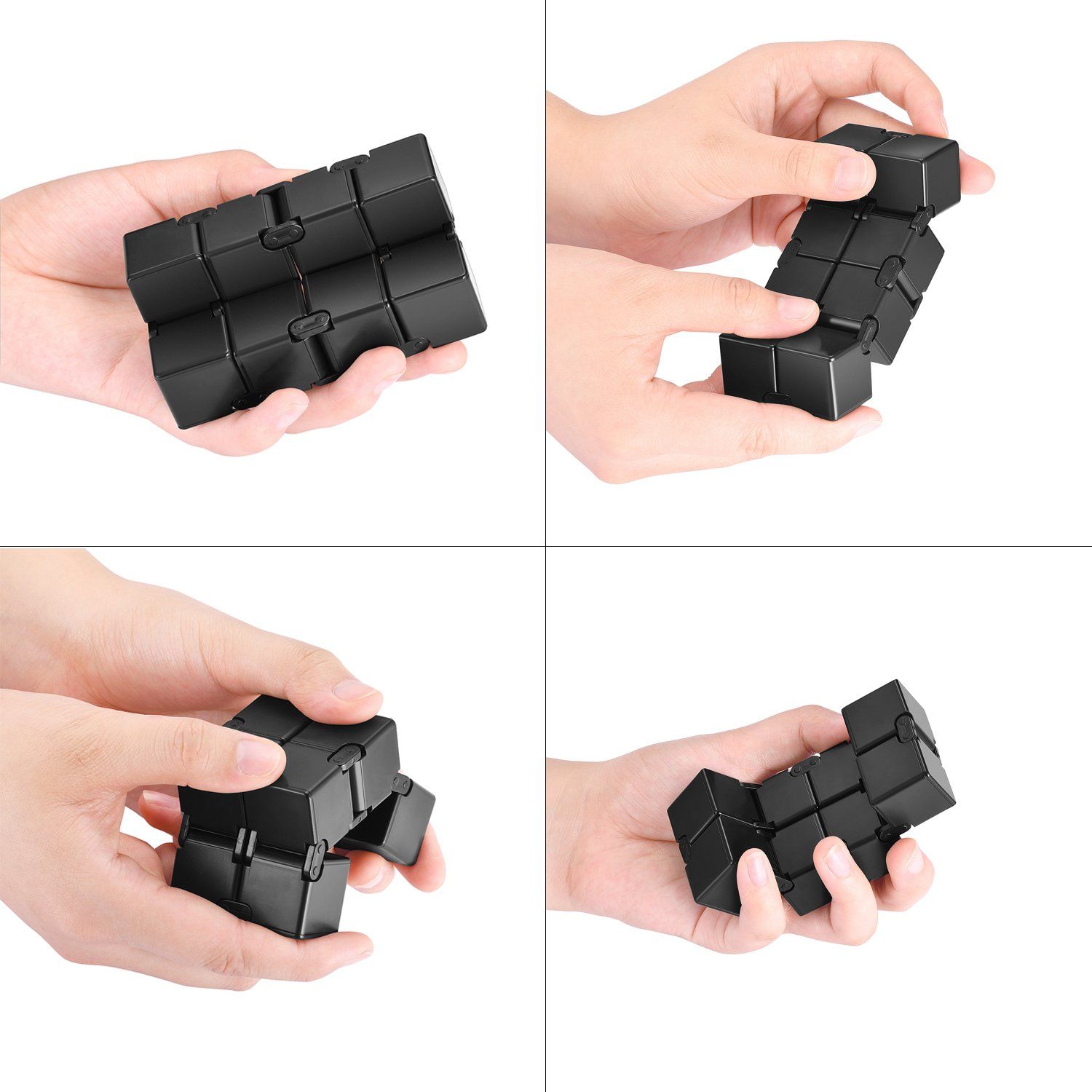 Ganowo Infinity Cube Fidget Toy for Kids and Adults, Fidget Cube Cool Mini Magic Cube Gadget Spinner for Stress and Anxiety Relief and Kill Time (Red&Black)