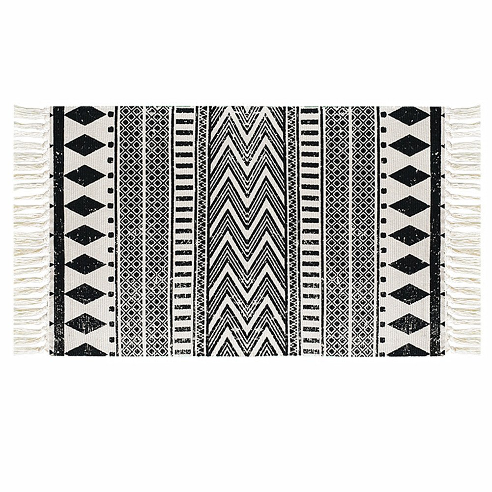 Levinis cotton handmade black and white area rug with tassel machine washable door mat for entrance way runner rug floor rug throw rug for dorm