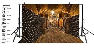Yeele 10x6.5ft(3x2m) Vinyl Photo Backdrop Underground Wine Cellar Oak Barrels Bottles Ladder Grunge Wood Floor Photography Background Portrait Photo Shoot Studio Props