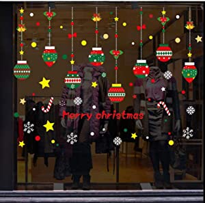 Sanyyanlsy Christmas Stickers Decorations Shopping Mall Wall Glass Window Stickers Door PVC Electrostat Home Room Decor,A